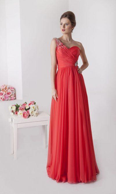Společenské šaty s jedním ramínkem a štrasem