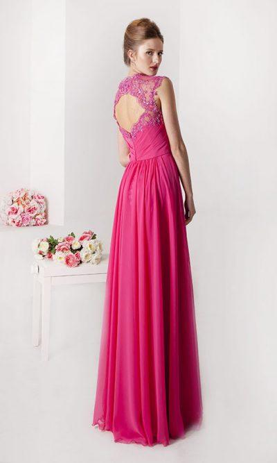 Společenské šaty ze šifónu růžové barvy