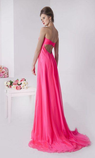 Vyzívavě růžové společenské šaty s vlečkou