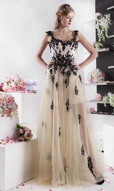 krátké společenské šaty s dlouhou sukní