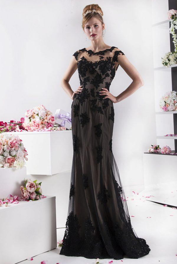hnědé večerní šaty s černou krajkou
