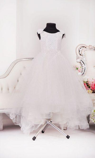 Romantické dětské šaty na svatbu s mašlí