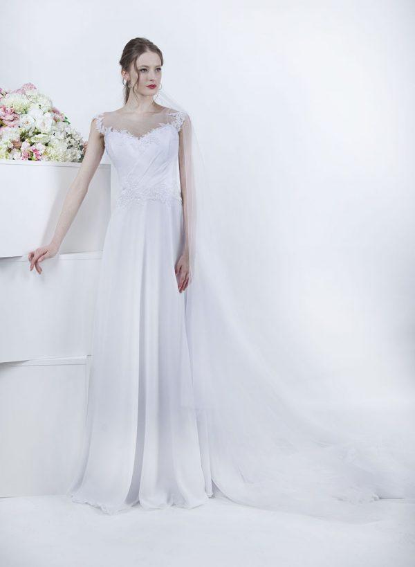 Boho svatební šaty ze šifónu a s vlečkou