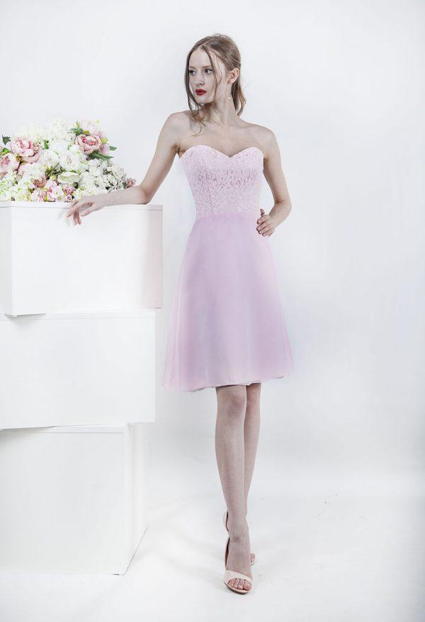 Univerzální koktejlové světle růžové šaty