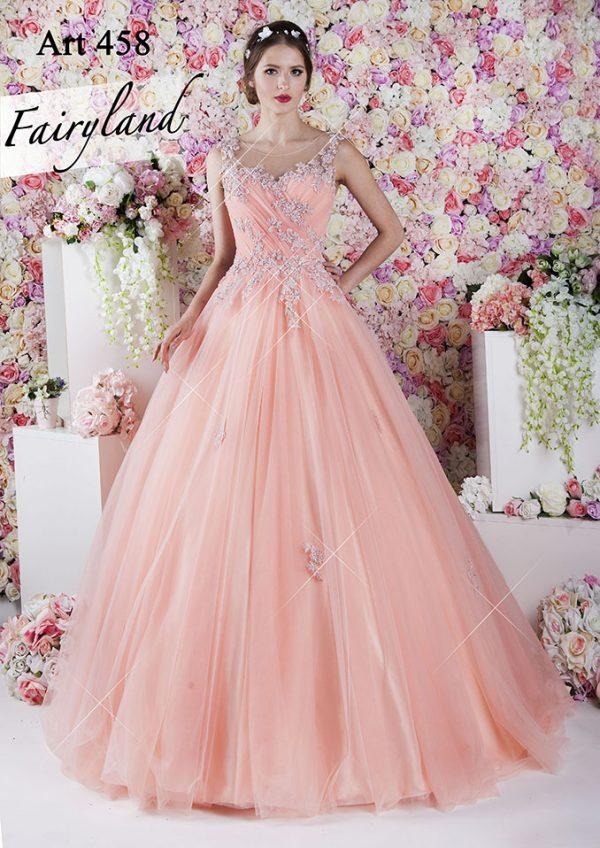 Maturitní šaty světle lososové barvy s ramínky