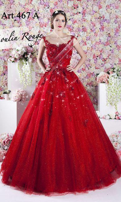 Velmi třpytivé plesové šaty rudé barvy