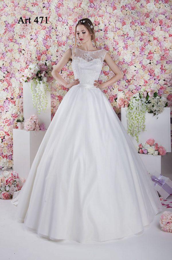Svatební šaty s lodičkovým výstřihem