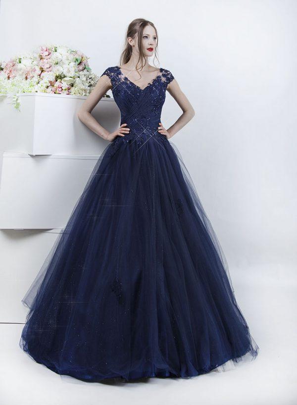 Maturitní šaty noční modré barvy