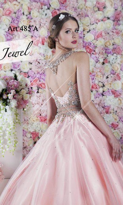 Krásné třpytivé princeznovské lososové plesové šaty