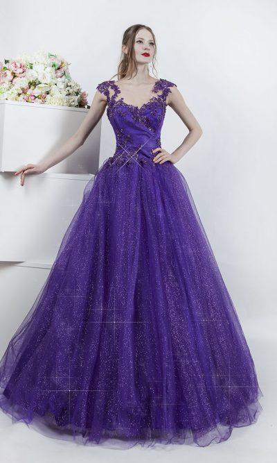 Plesové šaty s fialovými třpytky
