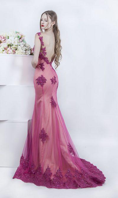 Malinové společenské šaty mořská panna
