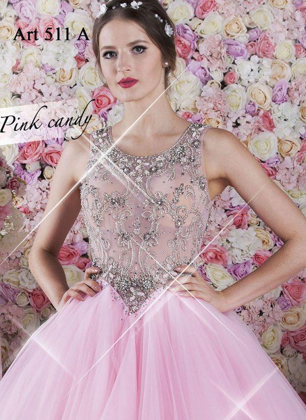 Tylové plesové šaty růžové barvy