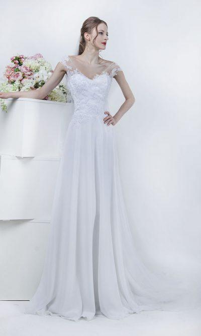 Něžné a jednoduché svatební šaty