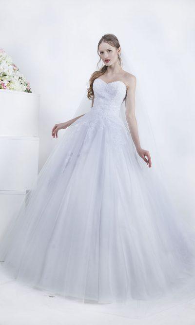Princeznovské svatební šaty s dekoltem do srdíčka