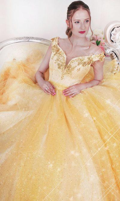 Princeznovské zlaté plesové šaty