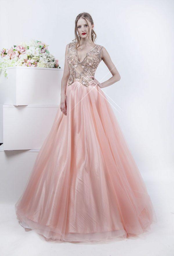 Krásné plesoé šaty s meruňkovou výšivkou