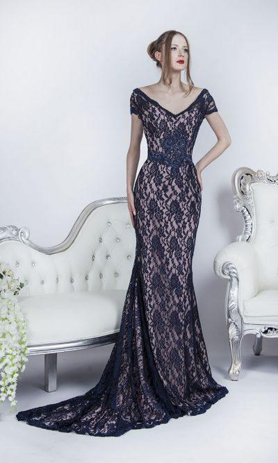 Dvoubarevné elastické společenské šaty