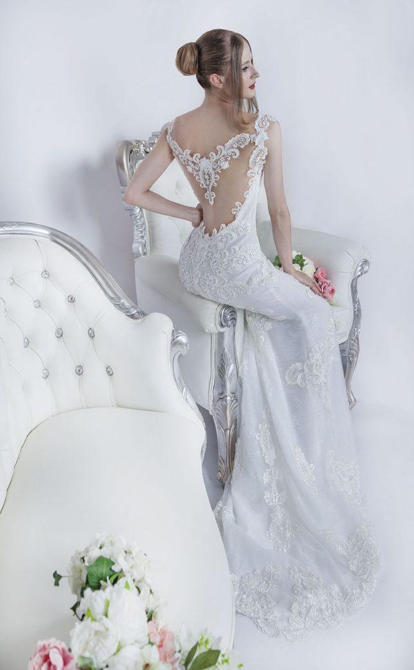 Smetanové svatební šaty průhledná