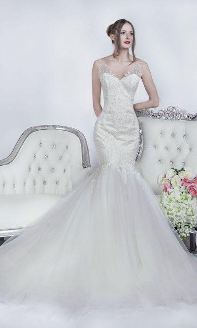 Svatební šaty jako mořská panna s tylem