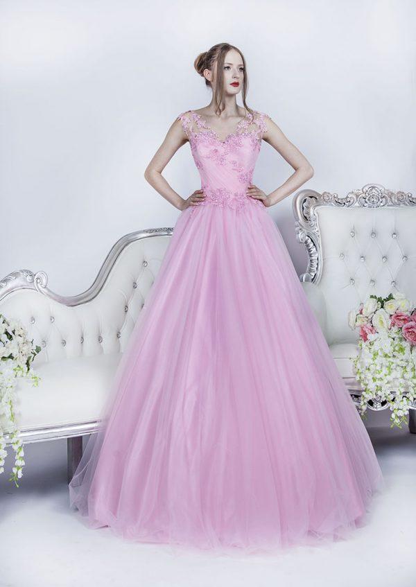 Růžové plesové šaty pro romantickou princeznu