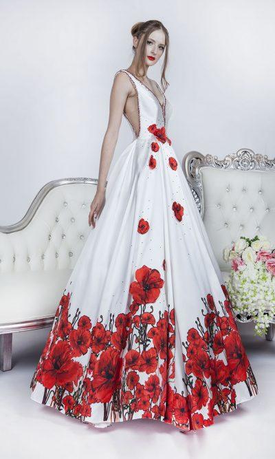 Červeno-bílé plesové šaty v Praze na půjčení