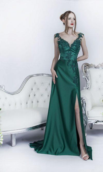 Společenské šaty s luxusníhé zeleného saténu