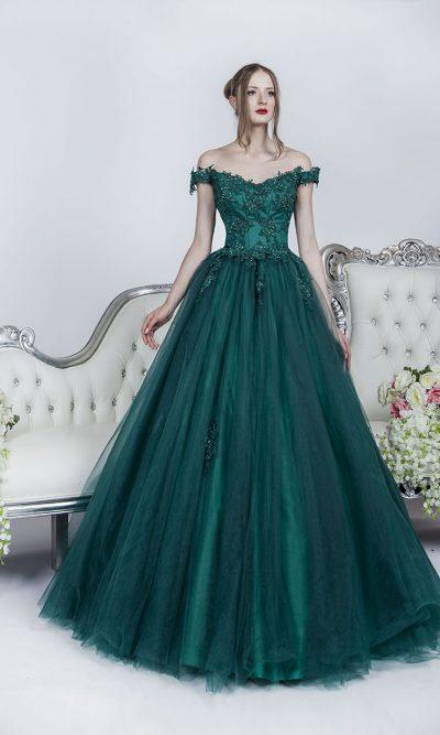 Princeznovské maturitní šaty Praha zelené