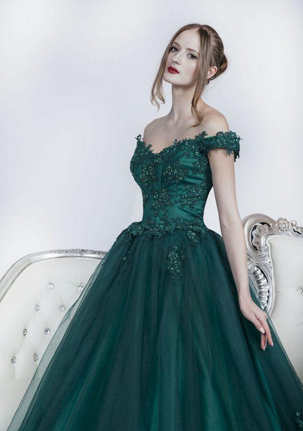 Plesové šaty zelené se spadlými ramínky