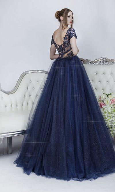 Plesové šaty s průhlednými modrými zády