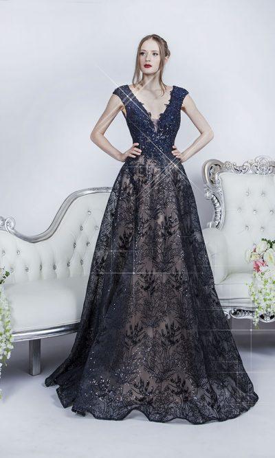 Tmavé modré plesové šaty s tělovou bází