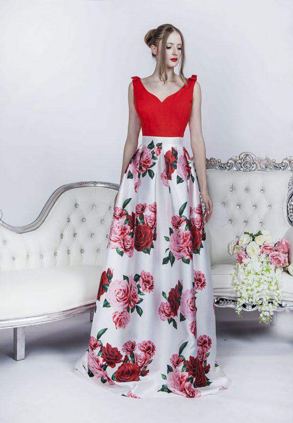 Společenské šaty s potiskem a originální mašlí na ramenou