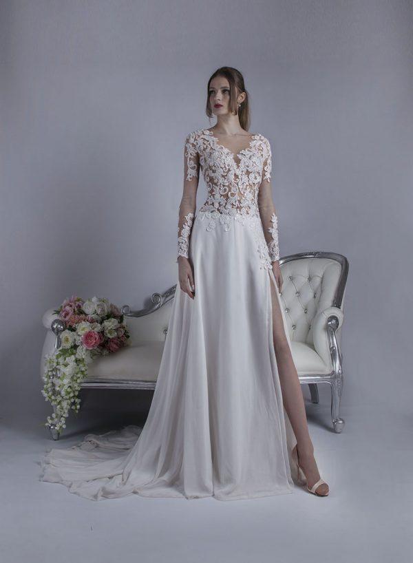 Svatební šaty se šifónovou sexy sukní
