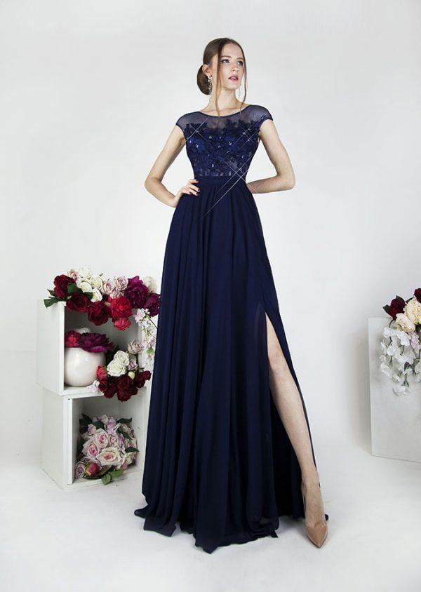 Krajkové společenské šaty tmavě modré