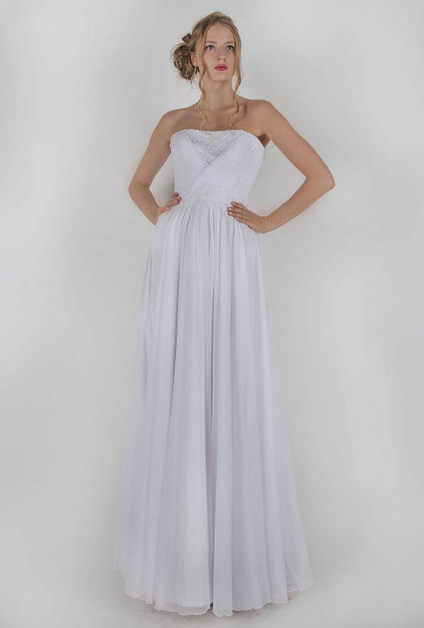 Bílé svatební šaty s drapováním ve výprodeji