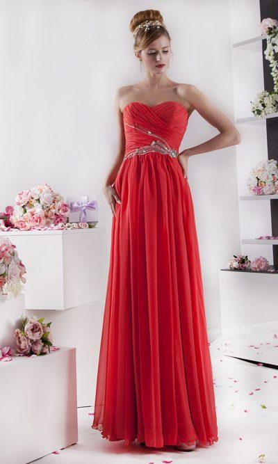 Elegantní dlouhé společenské šaty bez ramínek