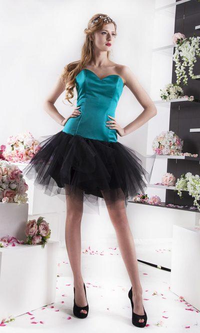 tyrkysové saténové krátké společenské šaty