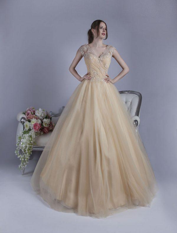 Romantické swpolečenské šat světle béžové