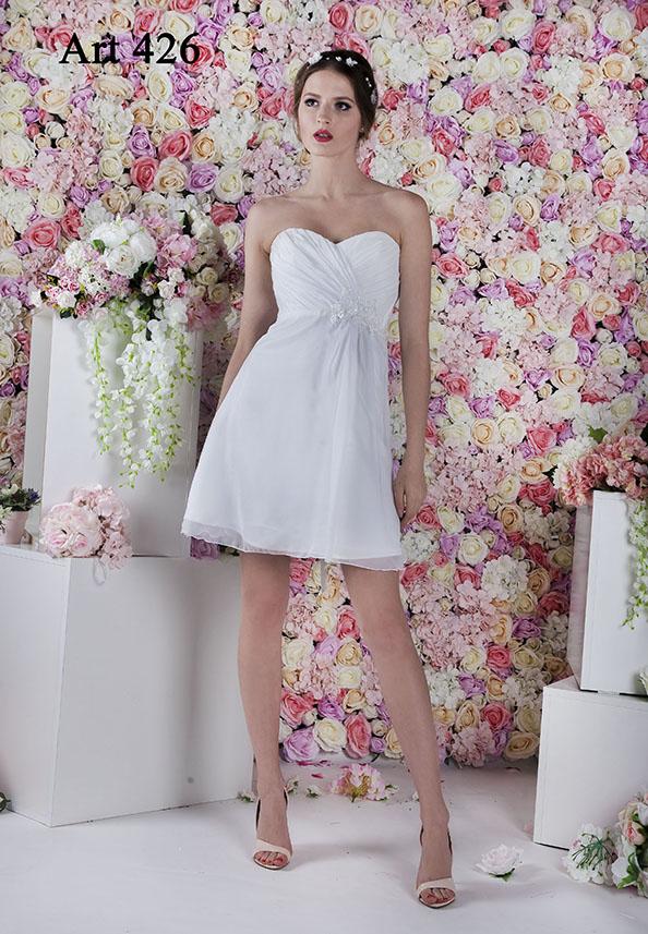 Splývavé krátké svatební šaty z výprodeje