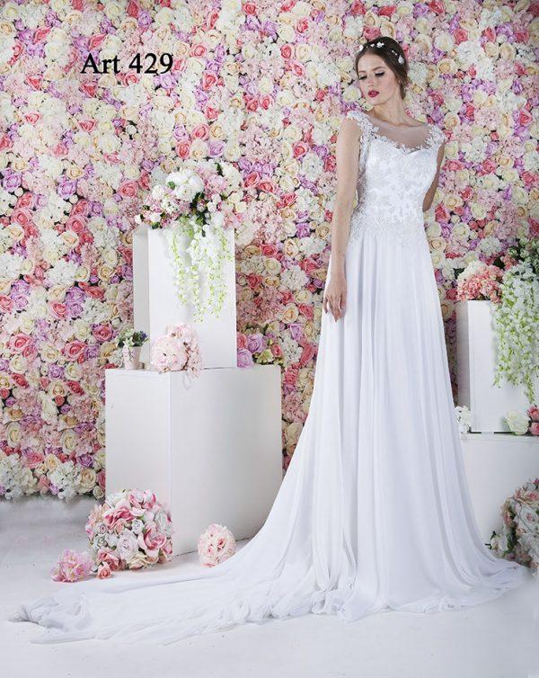 Originální bílé svatební šaty se živůtkem