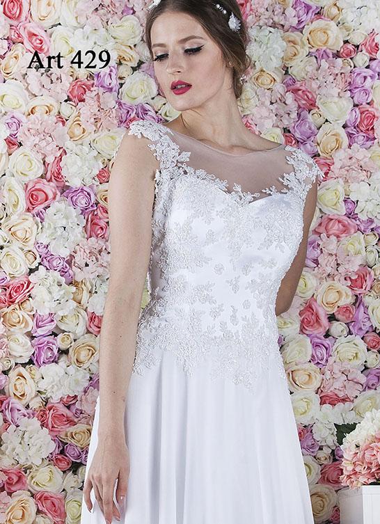 Bílé svatební šaty s krajkou a perličky