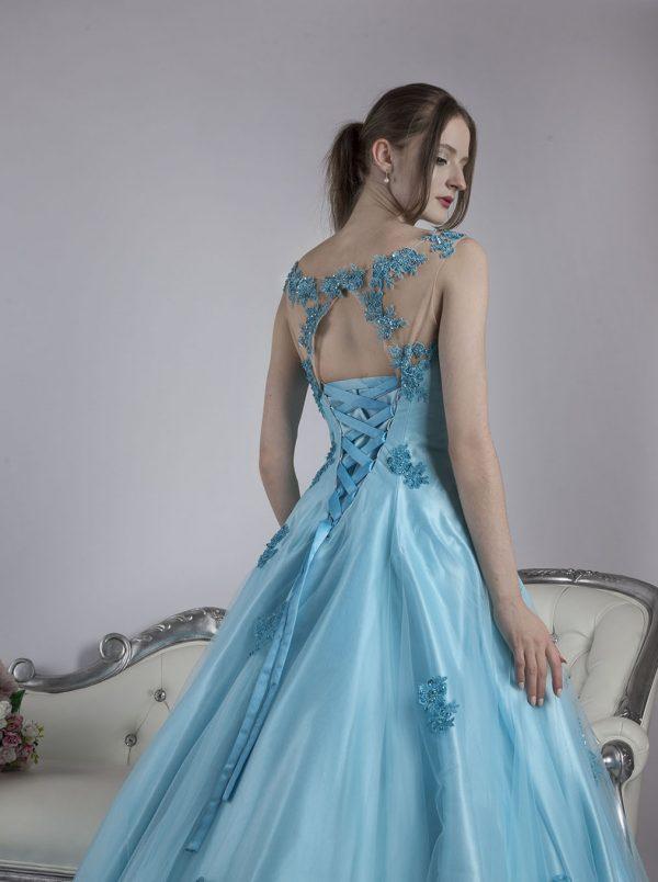 Společenské šaty s modrou sukní