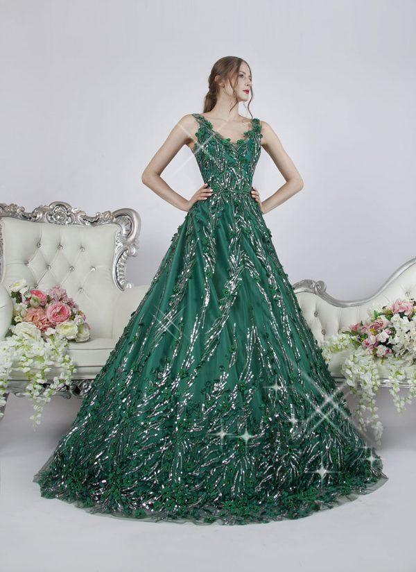 Originální princeznovské společenské šaty zelené barvy Praha