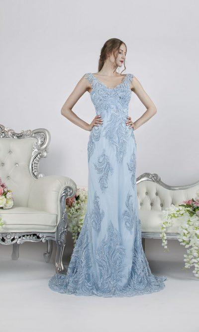 Sexy rybičkové společenské šaty modré barvy v Praze