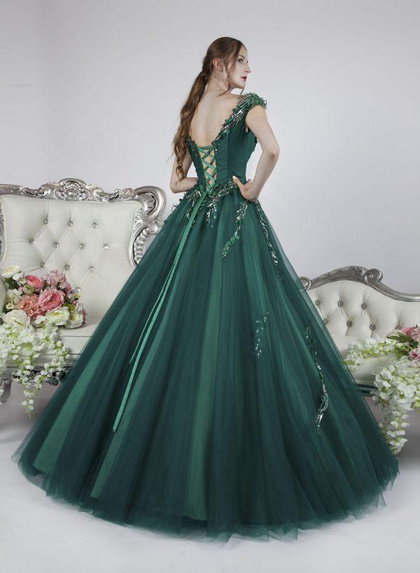 Originální plesové šaty se šněrovačkou zelené barvy