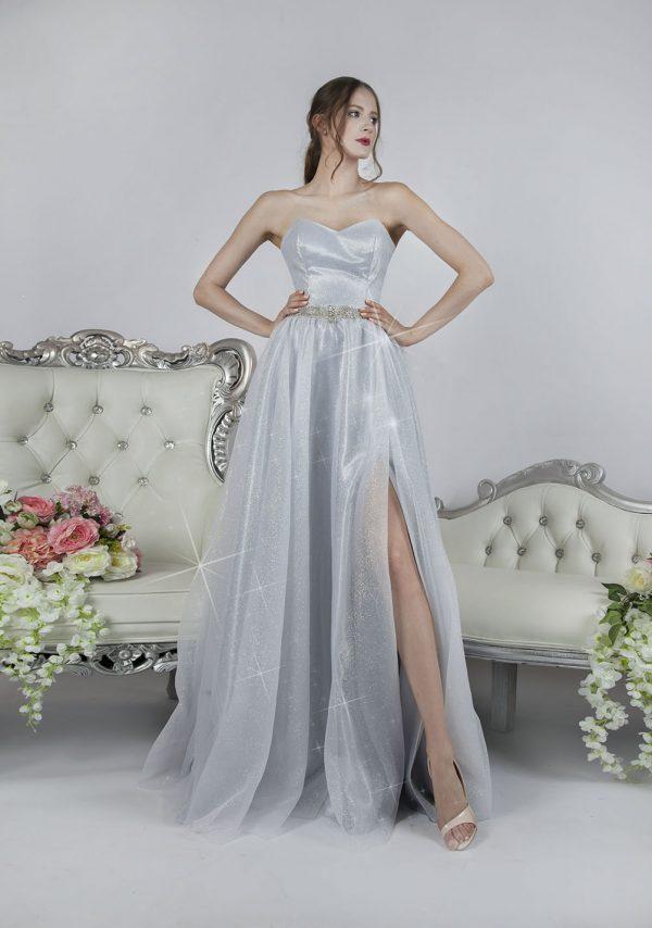 Klasické a něžné maturitní šaty stříbrné