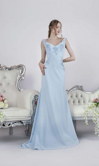 Společenské šaty áčkového střihu z modrého krepu