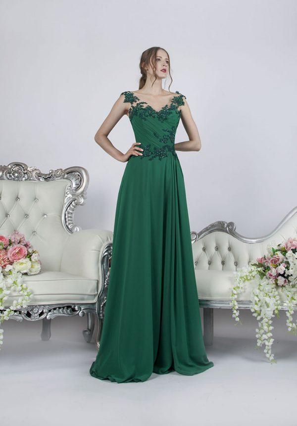 Společenské šaty ze šifónu empírového střihu zelené barvy