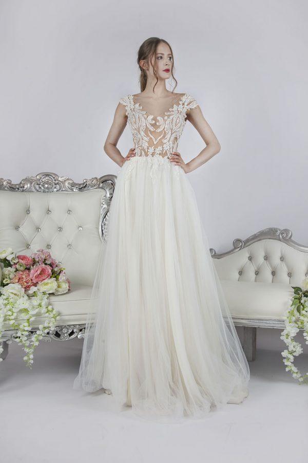 Společenské šaty smetanové barvy s luxusní krajkou