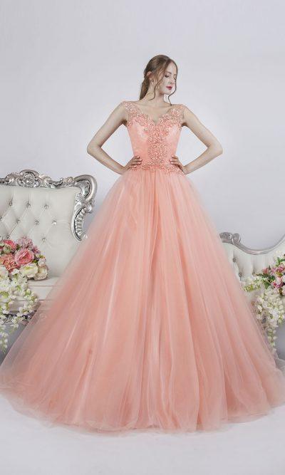 Plesové šaty na prodej nebo půjčení meruňkové barvy
