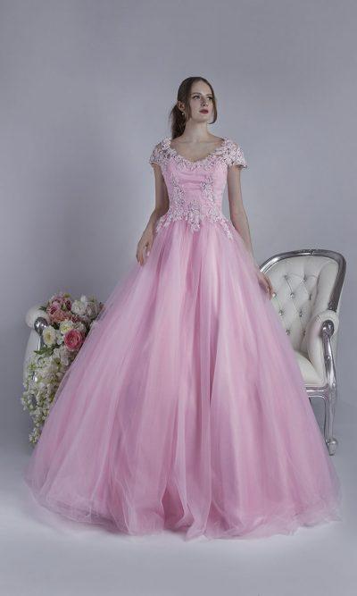 Maturitní šaty na ples něžné růžové barvy